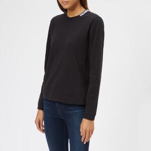 Calvin Klein Women's Embroidered Logo Long Sleeve T-Shirt - Black