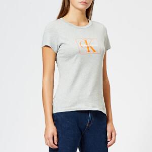 Calvin Klein Women's Outline Monogram Slim Fit T-Shirt - Mid Grey Heather