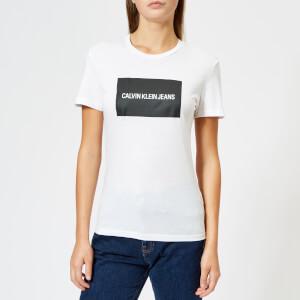 Calvin Klein Women's Institutional Box Reg Fit T-Shirt - Bright White/Black