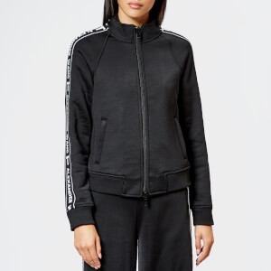 T by Alexander Wang Women's Sleek French Terry Full-Zip Shrunken Track Jacket - Black