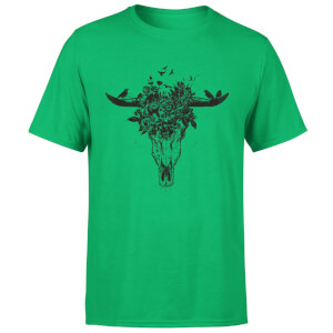 Balazs Solti Skulls And Flowers Men's T-Shirt - Kelly Green
