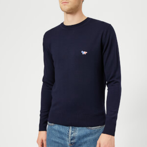 Maison Kitsuné Men's Virgin Wool Crew Neck Knitted Jumper - Navy