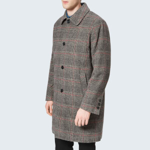 Maison Kitsuné Men's Check Bill Classic Coat - Anthracite Check
