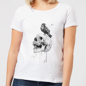 Balazs Solti Skull And Crow Women's T-Shirt - White