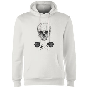 Balazs Solti Skull And Roses Hoodie - White