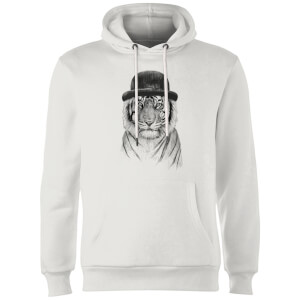 Balazs Solti Tiger In A Hat Hoodie - White