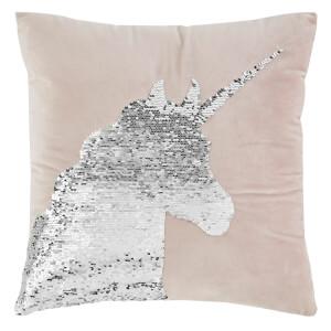Catherine Lansfield Sequin Unicorn Cushion - 43 x 43 - Pastel