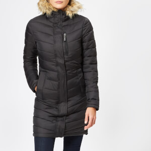 Superdry Women's Chevron Faux Fur Super Fuji Jacket - Black