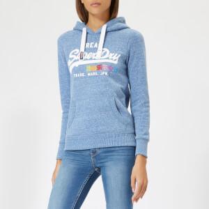 Superdry Women's Vintage Logo Rhinestone Pop Entry Hoodie - Cali Blue Snowy