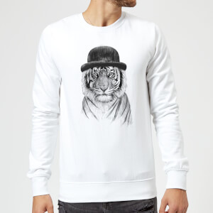 Balazs Solti Tiger In A Hat Sweatshirt - White