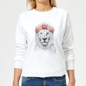 Lion And Flowers Women's Sweatshirt - White