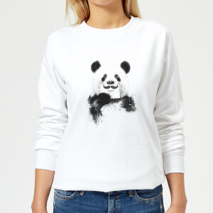 Moustache And Panda Women's Sweatshirt - White