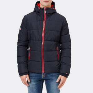 Superdry Men's Sports Puffer Jacket - Navy/Bright Red