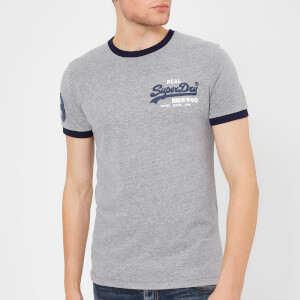 Superdry Men's Vintage Logo Ringer T-Shirt - Blizzard Grey Marl