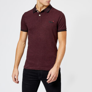 Superdry Men's Classic Short Sleeve Jacquard Jersey Polo Shirt - Deep Port Marl Fleck