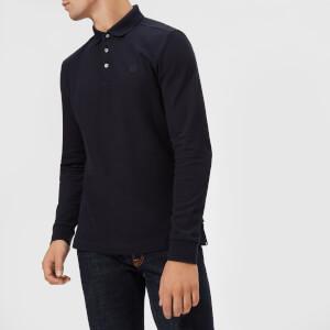 Aquascutum Men's Hillington Club Check Placket Long Sleeve Polo Shirt - Navy