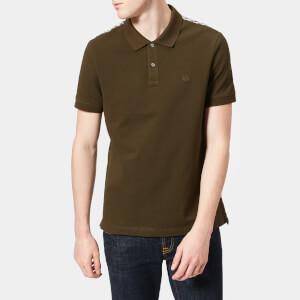 Aquascutum Men's Hill Club Check Pique Short Sleeve Polo Shirt - Military Green