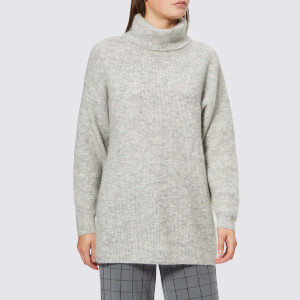Gestuz Women's Olivia Roll Neck Jumper - Light Grey Melange