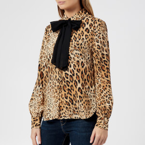 Frame Denim Women's Pussy Bow Blouse - Camel Multi