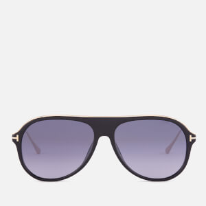 Tom Ford Men's Nicholai Aviator Sunglasses - Shiny Black/Smoke Mirror