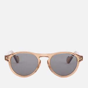 Moncler Men's Round Frame Sunglasses - Shiny Light Brown/Green