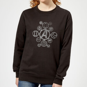 Avengers Distressed Metal Icon Women's Sweatshirt - Black