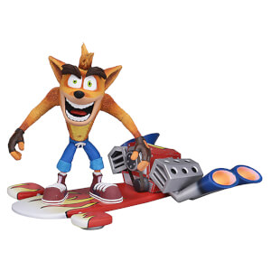 NECA Crash Bandicoot Deluxe Crash with Hoverboard 7 Inch Scale Action Figure
