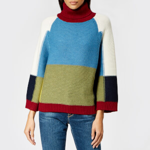 See By Chloé Women's Patchwork Roll Neck Knitted Jumper - Multicoloured Brown