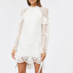 Self-Portrait Women's High Neck Crochet Tunic Dress - Ivory