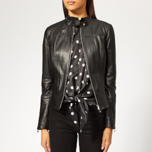 HUGO Women's Lonette Leather Jacket - Black
