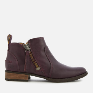 UGG Women's Aureo Full Grain Leather Flat Ankle Boots - Oxblood