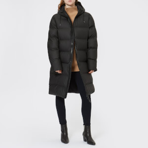 RAINS Women's Long Puffa Jacket - Black