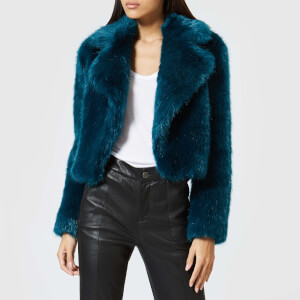 MICHAEL MICHAEL KORS Women's Cropped Fur Jacket - Lux Teal