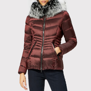 Froccella Women's Short Quilted Parka - Burgundy/Multi Fur