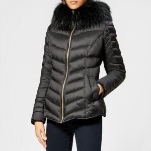 Froccella Women's Fur Trim Parka - Black Gloss