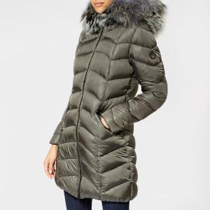 Froccella Women's Long Plain Parka - Grey/Teal Fur