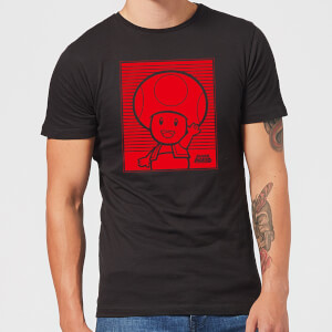 Nintendo Super Mario Toad Retro Line Art Men's T-Shirt - Black