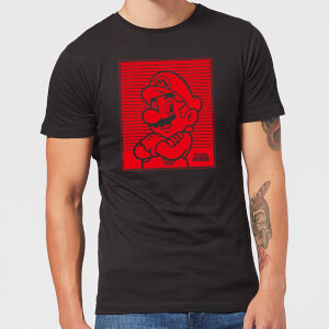 Nintendo Super Mario Mario Retro Line Art Men's T-Shirt - Black