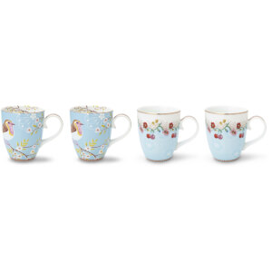 Pip Studio Large Mugs - Blue (Set of 4)