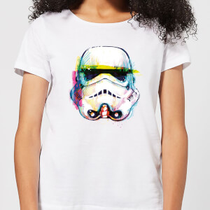 T-Shirt Femme Stormtrooper Paint Brush Art - Star Wars - Blanc