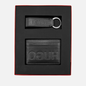 HUGO Men's Gift Box with Single Card Case and Leather Key Ring - Black