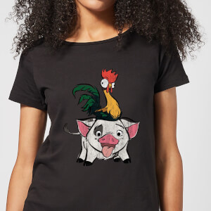 Camiseta Disney Vaiana Hei Hei y Pua - Mujer - Negro