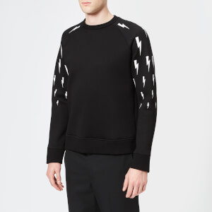 Neil Barrett Men's Lightning Bolt Raglan Sweatshirt - Black