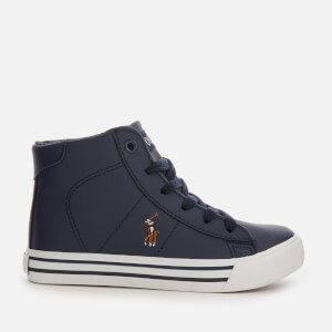 Polo Ralph Lauren Kids' Easten Mid Tumbled Leather Trainers - Navy/Multi