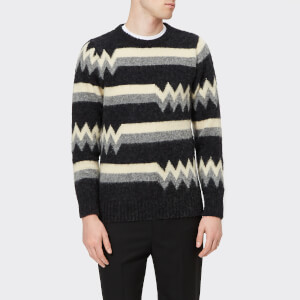 Howlin' Men's Patterned Crew Neck Knitted Jumper - Charcoal