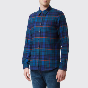 PS Paul Smith Men's Tailored Fit Long Sleeve Checked Shirt - Blue