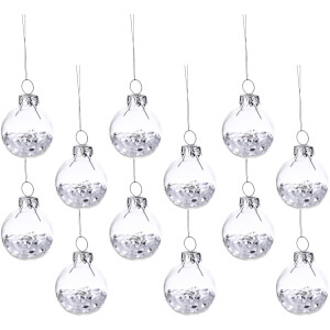 Sass & Belle Set of 12 Mini White Sparkle Baubles