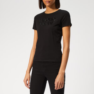 Emporio Armani Women's Sequin Logo T-Shirt - Black
