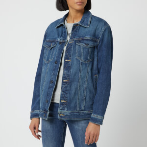 Emporio Armani Women's Denim Jacket with Logo on the Back - Blue