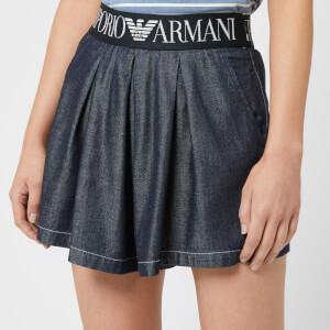Emporio Armani Women's Denim Logo Waist Shorts - Blue